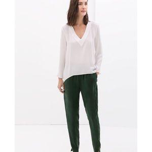 Zara Woman V-Neck Blouse White